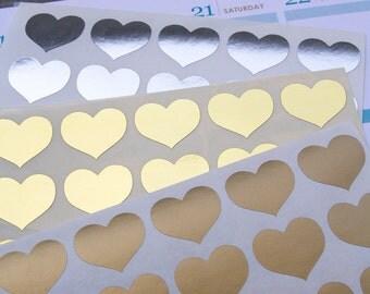 60 metallic heart stickers, silver gold geometric stickers, planner stickers, scrapbook sticker, love reminder checklist sticker