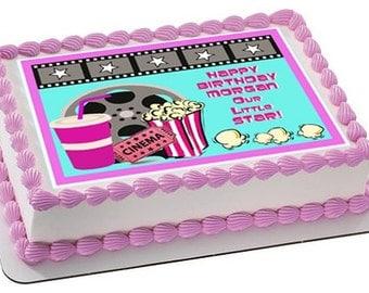Movie night edible cake topper, movie night edible cake image, movie night cupcake toppers, movie night party, movie night cookie toppers