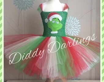 Grinch Tutu Dress. Inspired Handmade Tutu Dress. Grinch Dress. All Sizes Fully Customised. Christmas Tutu Dress. Red Green White Grinch