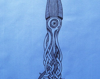 A4 Sea Blue Squid (2) Illustration
