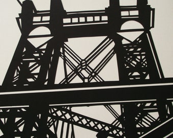 A3 Hand-cut Williamsburg Bridge Design  Papercut