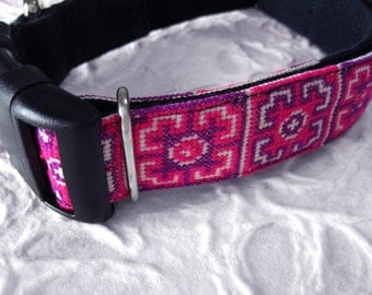 Asian Style Dog Collar Thai Old Cloth Hmong's Tribal Pattern Magenta(Pink)