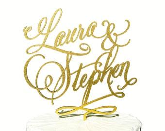 Custom Name Calligraphy Wedding Cake Topper