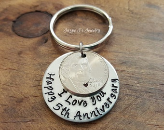 5 Year Anniversary Keychain, Happy 5th Anniversary Keychain, Money Keychain, Nickel Keychain, Custom Gift for Couples, Husband & Wife