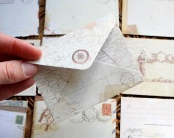 Mini kraft envelopes, pack of 10, Vintage thank you notes, wedding wishes idea