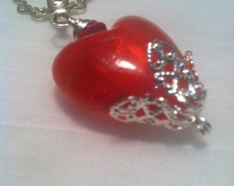Flaming Red Heart Necklace