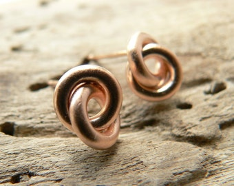 simple studs, rosé gold-plated