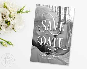 Fancy Script Save the Date Card - Digital or Printed