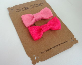 Baby Hair Bow Clips - Pink Sparkle Set