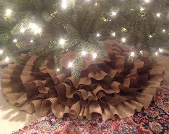 Hand sewn Ruffled Burlap Christmas Tree Skirt