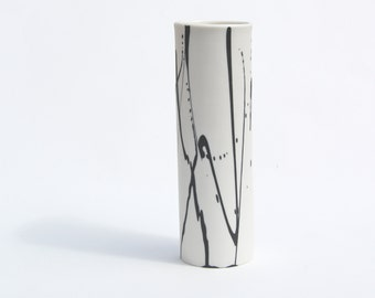Flower vase - tall handmade ceramic porcelain vase with modern black and white abstract design - unique pottery vase by Curve Ceramics