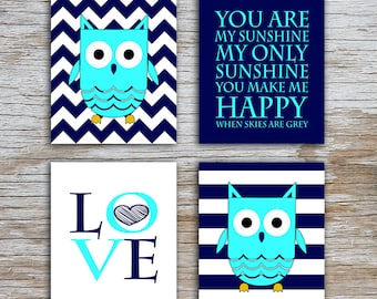 Kids (D) - You Are  My Sunshine - Owl - Navy Light Blue - 4 Parts
