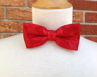 bow tie bright red brocade paisley