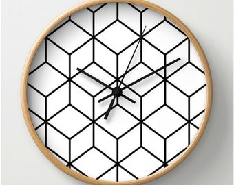 minimalist wall clock, wood clock, clock black and white, abstract clock, clock wood