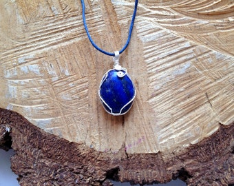 Lapis (blue) Necklace Sterling Silver Wire Wrapped