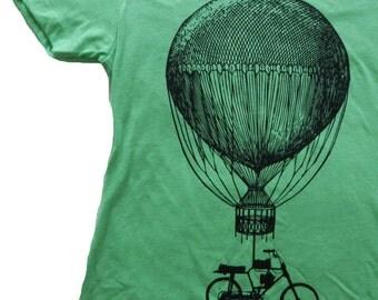 Hot Air Balloon Bicycle T-Shirt, Dream Big, Womens Next Level T, Original Art, Screen Printed