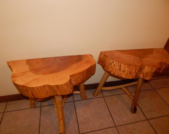 Maple Top Slab Side Tables