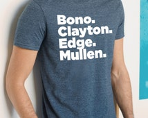 U2 T-shirt, Band member line-up t-shirt, Bono, Clayton, Edge, Mullen, Gift for Him, Band Members, U2 fans, Blue, black, gray