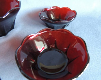 Bowl set red * dessert / Salad Bowl and 6 cups 60s