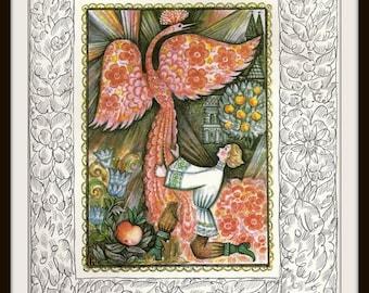 Russian Fairy Tale Print #5 (1980s): Fire-Bird Firebird Phoenix, Frameable Nursery Wall Art, Soviet Vintage Children's Book Picture, Red