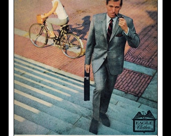 """Vintage Print Ad April 1963 : Eagle Clothes Wool Suit Sexy Girl Bicycle Fashion Clothing Wall Art Decor 8.5"""" x 11"""" Advertisement"""