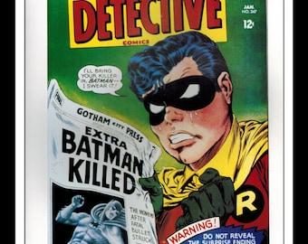 "Vintage Print Ad Comic Book Cover : Detective Comics #347 / Batman #190 Robin Illustration Dbl Sided Wall Art Decor 8"" x 10 3/4"""