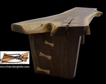 Live edge black walnut crotch bench, live edge coffee table, live edge furniture