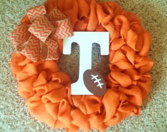 Tennessee Wreath;  Fall wreath; sports wreath; UT wreath;  Football wreath; College Wreath; White and Orange; burlap wreath; football