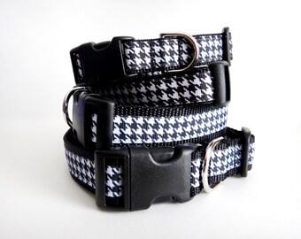 Girl Dog Collar - Adjustable Houndstooth Dog Collar - Small or Large Dog Collar - Female  Dog Collar - Black and White Dog Collar