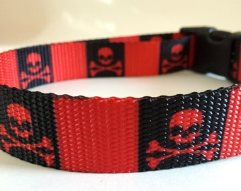Skull Dog Collar-Boy Dog Collar - Skull and Cross Bones Dog Collar-Medium or Large Dog Collar-Red and Black Pirate Dog Collar-Boy Dog Collar
