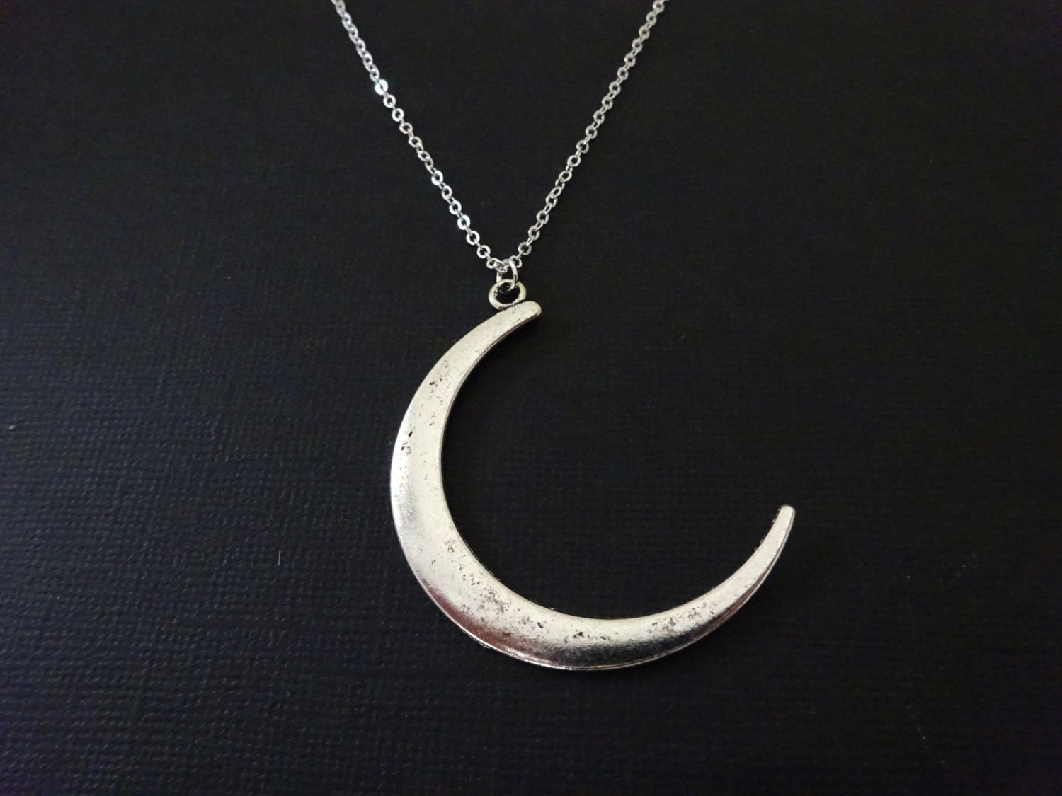 Large moon Necklace Crescent Moon Pendant Long Pendant