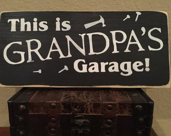 Grandpa's Garage/ Hand Painted Wood Sign/ Fathers Day Gift/ Man Cave/ Grandpa gift/ Dad gift/ Personalized Gift/ Color Choice/  5 1/2 x 12