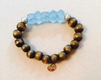 Blue Bali Glass Bijou Southern bracelet