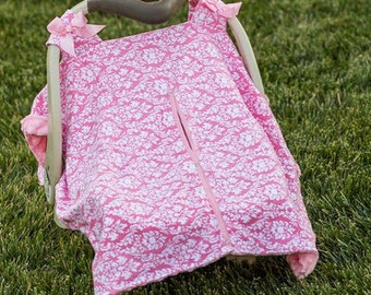 Baby Girls Light Pink Damask Car Seat Canopy Cover - Baby Shower Gift