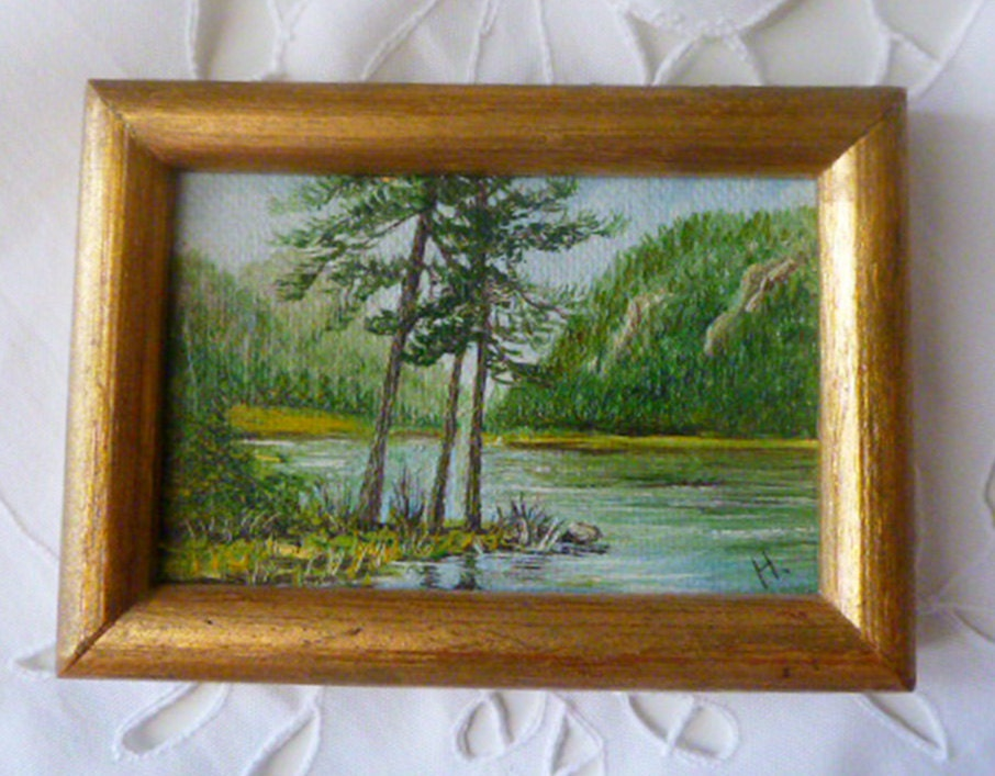 River pictureVintage Home decor Wall hanging Vintage