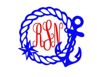 Anchor Rope Monogram Vinyl Decal, Custom Car Decal, Personalized 3 letter monogram, self applied monogram, personalized decal