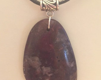 Ocean jasper pendant on black suede leather necklace