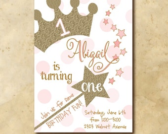 Princess Birthday Invitation printable/Digital File/Princess First Birthday, Princess 1st birthday, gold and pink/Wording can be changed