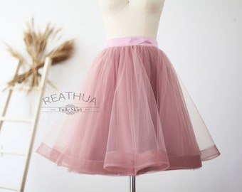 Mauve Horsehair Tulle Skirt/Short Women Skirt/TUTU Tulle Skirt/Wedding Bridal Bridesmaid Skirt/Knee Length Bachelorette party Skirt