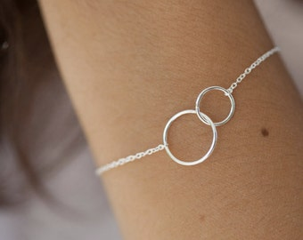 Bracelet two circles / rings in 925 Silver