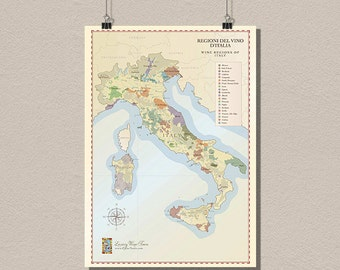 Italy Wine Region Map - Vintage Wine Poster Retro Food Drinks Wall Decor Italy Map Kitchen Decor Wine Art   bpt