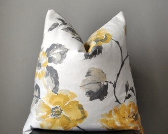 Pillow Cover, Decorative Pillow Cover, Throw pillows, 18x18, 20x20, 22x22 pillow cover, yellow gray floral pillow, home decor