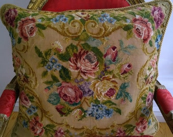 Beautiful Vintage French c.1930s Pillow / Hand Made Needlepoint & Pettit Point Pillow with Floral Motive  /  Beautiful Vintage Home Decor