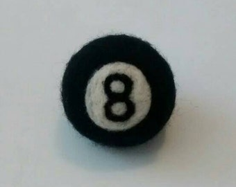 Needle felted pool  black ball snooker keyring