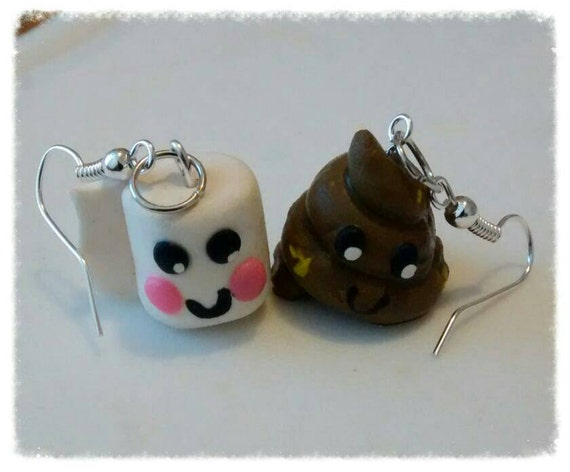 poo and toilet roll paper earrings polymer clay by