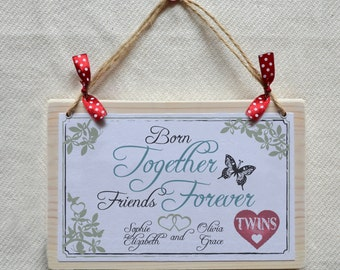Personalised twins, triplets, multiples gift - Wooden quote plaque