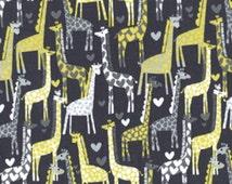 Gray Giraffe Fabric by Michael Miller - Giraffe Love in Citron and Gray - Fabric by the Half Yard