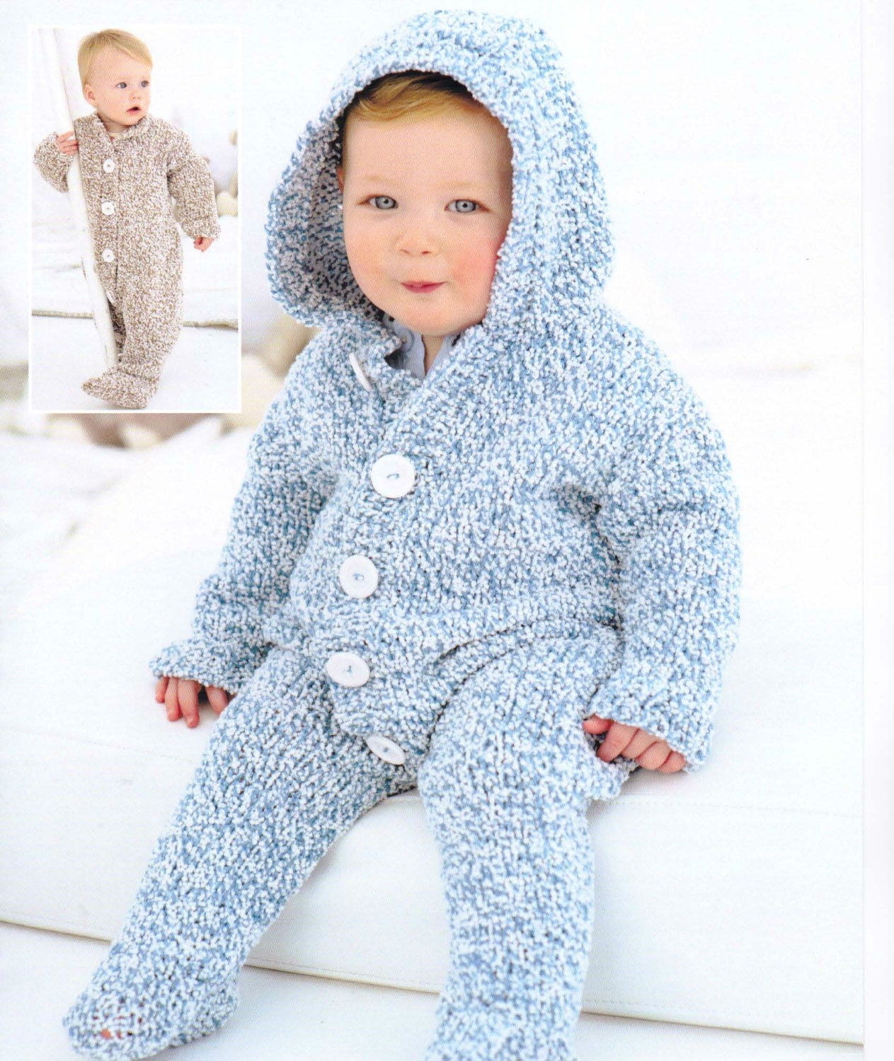 Knitting Pattern For Newborn Jumper : Knit Baby Jumper and Hoodie Vintage Pattern knitting jumpsuit