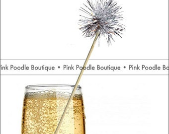 Tinsel Puff DRINK STIRRERS / Cupcake PICKS (6 pc)  --  Metallic Silver  --  Holiday, Christmas, New Years Eve