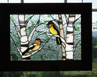 Stained glass birds in a forest of birches (2 large-billed stray in Birch)
